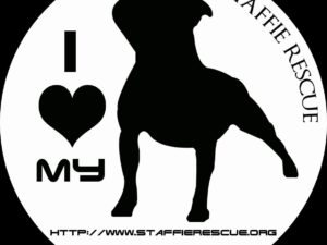 Stickers voiture – I love my Staffie Rescue
