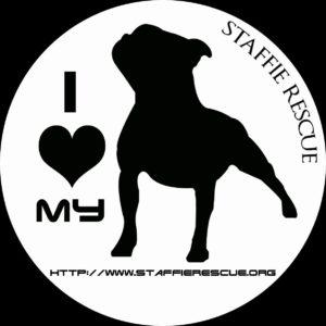 Stickers voiture – I love my Staffie Rescue