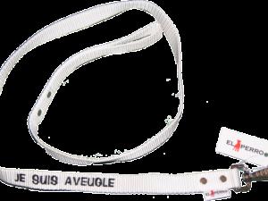 Laisse nylon blanche «je suis aveugle»