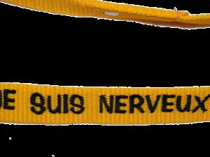 Laisse nylon jaune «Je suis nerveux»